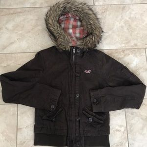 Hollister brown jacket with faux fur hood sz M